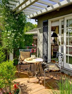 Cottage style back patio and pergola. Love the Shutters on either side of the patio doors! Small Backyard Gardens, Small Patio, Balcony Garden, Outdoor Rooms, Outdoor Dining, Outdoor Decor, Outdoor Photos, Style Cottage, Sliding French Doors