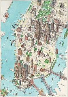 Lower Manhattan New York city (NYC, NY city) large detailed panoramic drawing map. Large detailed panoramic drawing map of lower Manhattan NY city (New York city). Manhattan New York, Lower Manhattan, New York Poster, London Poster, Plan New York, Watercolor World Map, Voyage New York, Tourist Map, Ellis Island