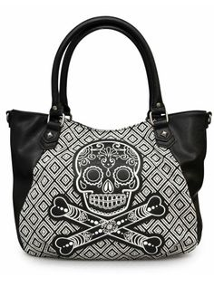 """Sugar Skull"" Tweed Tote Bag by Loungefly (Black/White) #inkedshop #totebag…"