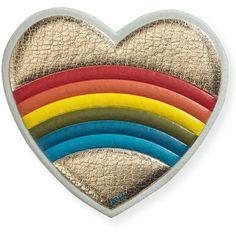 Anya Hindmarch Rainbow Heart Sticker for Handbag (110 AUD) ❤ liked on Polyvore featuring bags, handbags, pale gold, rainbow bag, anya hindmarch bag, logo bags, heart shaped bag and heart shaped handbag