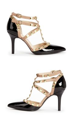 Striking black & nude patent heels with t-straps, gold-toned studs and ankle strap closures