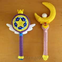 Crochet Patterns available in my xMangoRose Etsy shop! Sailor Moon Wand: www.etsy.com/listing/205858998… Star Butterfly Wand: www.etsy.com/listing/232749297…