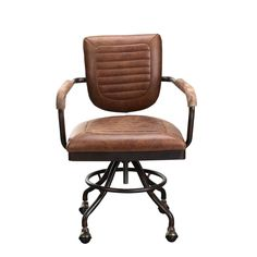 Finally, a vintage inspired industrial desk chair that won't have you visiting the chiropractors. The Thessalon desk chair has a sturdy metal frame, smooth rolling wheels and a buttery swivel, but the best part is the cushy seat and back that is wrapped in ribbed top grain leather. Long day...