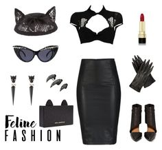 """""""Black cat"""" by sulfur ❤ liked on Polyvore featuring Alexis Bittar, Maison Michel, Chantal Thomass, Shoe Cult, Opening Ceremony, Karl Lagerfeld, Dolce&Gabbana and ONLY"""