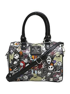 8ce64187cc5c Loungefly The Nightmare Before Christmas Character Print Faux Leather  Barrel Bag