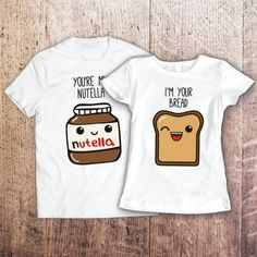 Nutella shirt / pärchen t-shirts / couples t shirt / couples gift set / couple shirt / his and hers shirts / just married shirts - Bestie Shirts - Ideas of Bestie Shirts - Couple set t-shirt You're My Nutella I am by SayYouLoveMeGifts Matching Outfits Best Friend, Best Friend Outfits, Matching Couple Shirts, Best Friend Match, Couple Outfits, Matching Couples, Outfits For Teens, Couple Tshirts, Bff Shirts