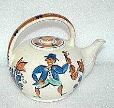 Folk Art Pudgy Tea Pot From Denmark Mandolin / Fiddle Players Signed