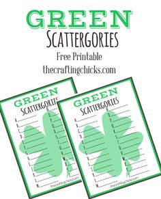 St. Patrick's Day GREEN Scattergories *Free Printable - I love these! I use them for every class party!