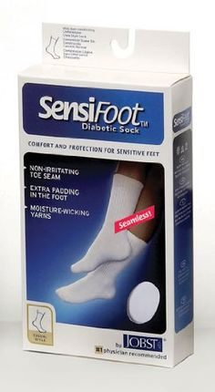 56d7602c7d1e5a Jobst Sensifoot Diabetic Sock, Crew Style, One Pair, White, Large $9.49  Support