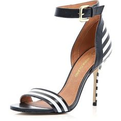 River Island Black and white stripe barely there sandals found on Polyvore
