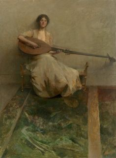 'Girl with a Lute' by Thomas Wilmer Dewing American 1851 - 1938