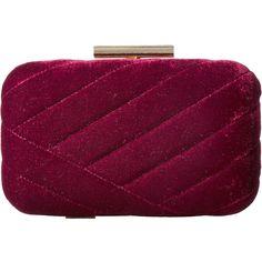 Jessica McClintock Ashlyn Velvet Clutch (Wine) ($55) ❤ liked on Polyvore featuring bags, handbags, clutches, wine handbag, quilted chain purse, velvet clutches, purple handbags and chain purse