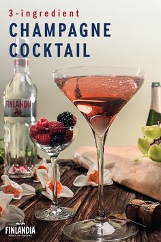 Celebrate with a delicious champagne cocktail. The Cranberry Royal is made with 0.5 oz Finlandia Cranberry Vodka and 0.5 oz Chambord Champagne. Build and stir this 3-ingredient recipe before garnishing it with fresh berries.