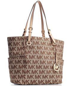 MICHAEL Michael Kors Handbag, Block Monogram Signature Tote - Tote Bags - Handbags & Accessories - Macy's