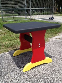 Mickey Mouse table with chalkboard top.