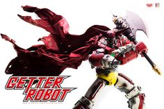 """Thanks to all who supported our Getter Robot license! We want to share more photos of 15"""" tall Getter Robot collectible, this time by Dick.Po. Getter 1 comes with two Getter Tomahawks, Detachable Cape (poseable with build-in wires) and light-up feature in the eyes and Getter Beam shooting port. Full album at our Facebook page: https://www.facebook.com/media/set/?set=a.1345642815461543.1073741953.697107020315129&type=1&l=38453f9b2b #threezero #GetterRobo #GetterRobot #GoNagai #KenIshikawa…"""