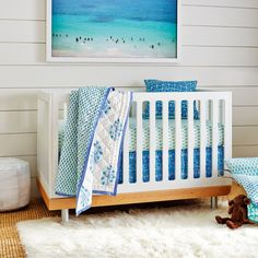 Palace Turquoise Pleated Crib Skirt