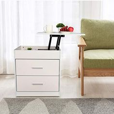 Nightstand with Lift Top and Computer Table Wood Storage Cabinets, Storage Drawers, Storage Shelves, Shelf, Adjustable Laptop Table, Adjustable Height Desk, Bedside Desk, White Nightstand, Table Furniture