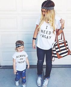 Mommy and Me - I Need Vacay and Always on Vacay Combo