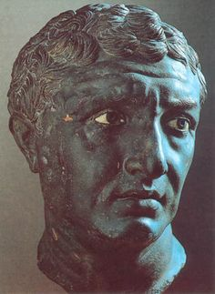 Bronze Head from Delos - Ca. 80 BC. Height: 12 3/4 inches.