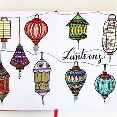 Doodletime I tried to draw some Lanterns . . . . #bulletjournal #planner #bujo #bujojunkies #doodle #doodles