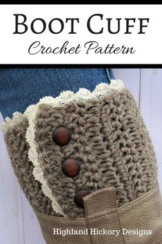 Crochet these rustic boot cuffs with this free pattern. This design is perfect for just about any kind of boot. This easy pattern uses the herringbone double crochet stitch and then the lace and buttons are sewn on. There are instructions for adjusting the size. Will work for teens and adult women. #crochet