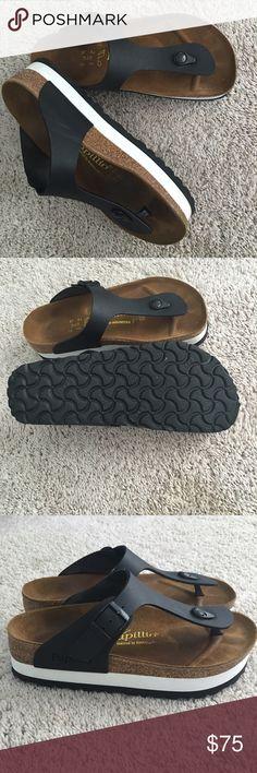 Platform Birkenstocks Size 37 Papillio Black/White Platform Birkenstocks (US size 6.5-7).  Only worn one time. Birkenstock Shoes Sandals