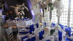 Blue orchid wedding at the Swan at Shakespeare's Globe. Table set-up.