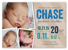 Big Welcome Boy 5x7 Stationery Card | Birth Announcements | Shutterfly
