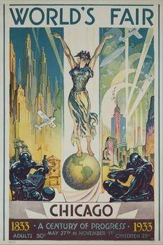 Chicago Poster, Propaganda Art, Vintage Travel Posters, Poster Vintage, Vintage Art, World's Fair, Find Art, Framed Artwork, Giclee Print