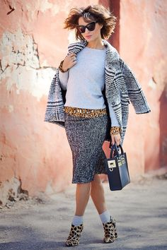 lady like outfit, street style fall outfits, tweed pencil skirt, leopard print outfit, sophie hulme bag,