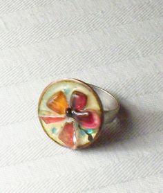 Vintage Repurposed Round Copper Enamel by SultanaVintageJewels