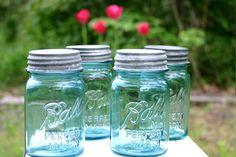 Blue Ball Perfect Mason Jars for Wedding by DukeCreekStudios