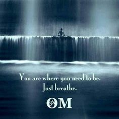 You are where you need to be. Just breathe. Om...