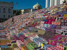 The stairs of the Helsinki Cathedral were filled with the Guinness world record attempt for the largest crocheted patchwork quilt of the world, making a quite large blanket. Taken October 1, 2011