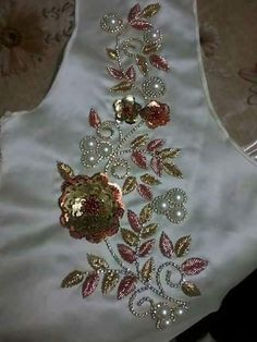 embroidery to order, flowers from sequins, decoration on a dress Tambour Embroidery, Bead Embroidery Patterns, Hand Work Embroidery, Hand Embroidery Stitches, Beaded Embroidery, Cross Stitch Embroidery, Embroidery Designs, Motifs Perler, Chain Stitch