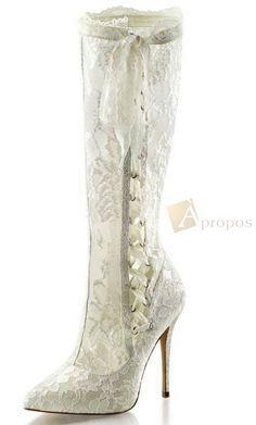 Damenstiefel 12,5cm High Heel Stiletto Spitze Elfenbein Apropos