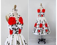 vintage 1950s 50s dress // Red and White Rose Print Halter Sundress