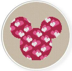 Téléchargement immédiat, livraison gratuite, compté Cross stitch motif, Cross-Stitch PDF, motif de tissu, souris coeur mignon, zxxc0357