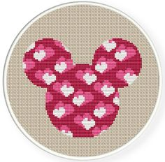Mickey Mouse head with hearts cross stitch