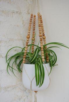 # self-made Wooden flower pot pearl plant hanger. Planter made of wooden beads. Indoor Plant Hangers, Rope Plant Hanger, Pot Hanger, Hanging Plants, Indoor Plants, Crochet Plant Hanger, Macrame Plant Holder, Plant Holders Diy, Macrame Projects