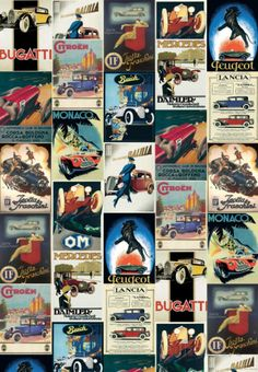 Vintage Cars - Vintage Style Italian Poster Collage Posters - AllPosters.ca