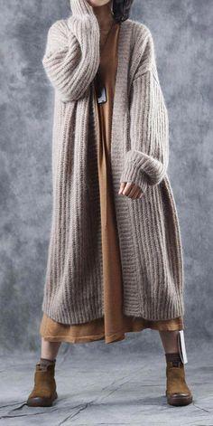 Casual Loose Thicken Woolen Over Coat For Women - Herren- und Damenmode - Kleidung Knit Fashion, Sweater Fashion, Fashion Outfits, Fashion Trends, Fashion Fashion, Coats For Women, Sweaters For Women, Clothes For Women, Fashion Tips For Women