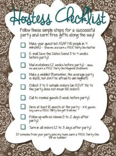 Hostess Checklist.  Ask to book your party today! https://www.mythirtyone.com/roses31ideas/shop/party/parties