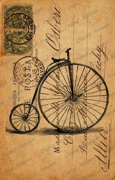 Vintage Bicycle  Post Cards Sepia Image Collage Sheet Digital Download.  via Etsy.
