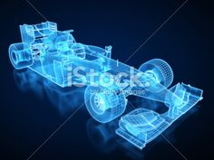 F1 Car X-ray / Blueprint - with clipping path Royalty Free Stock Photo