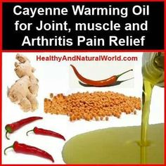 Warming oil for joint, muscle, Arthritis pain. Using cayenne pepper. I make a rub using cayenne and beeswax will have to try this one.