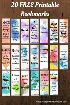 21 Ideas For Craft Quotes Hobbies 21 Ideen für Bastelzitate Hobbys Bookmarks Quotes, Paper Bookmarks, Watercolor Bookmarks, Bookmarks Kids, Reading Bookmarks, Watercolor Quote, Kids Watercolor, Free Printable Bookmarks, Free Printables