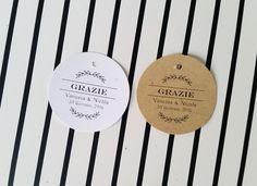 Biglietti Bomboniere, Etichette Stile Rustico, Bigliettini Ringraziamento per Bomboniere : Altra cartoleria di etichette-handmade
