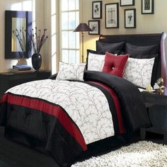 Atlantis Ivory, Red and Black Cal-King size Luxury 8 piece comforter set includes Comforter, bed skirt, pillow shams, decorative pillows